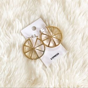 Express • gold lemon slice wagon wheel earrings